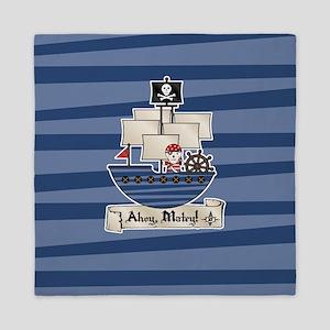 Pirate Ship Ahoy Matey Queen Duvet
