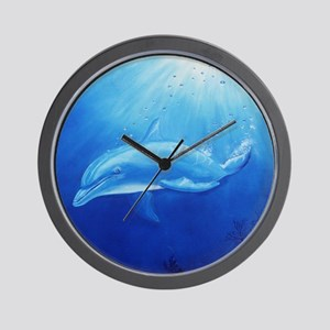 blue dolphin Wall Clock