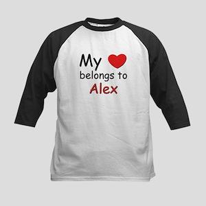 My heart belongs to alex Kids Baseball Jersey