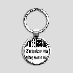 5.25x5.25bllwhnotrespassingsmssjrcp Round Keychain