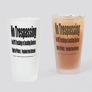 5.25x5.25bllwhnotrespassingsmssjrcp Drinking Glass