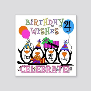 "PENGUINBDAY4 Square Sticker 3"" x 3"""
