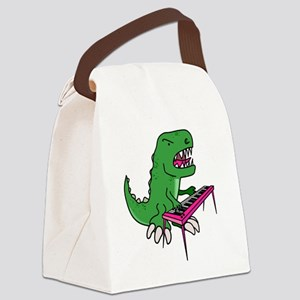 t-rex piano t-shirt Canvas Lunch Bag