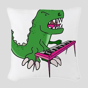 t-rex piano t-shirt Woven Throw Pillow
