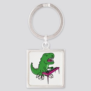 t-rex piano t-shirt Square Keychain