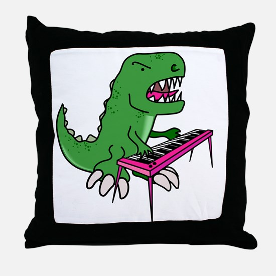 t-rex piano t-shirt Throw Pillow