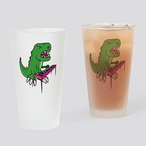 t-rex piano t-shirt Drinking Glass