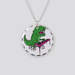 t-rex piano t-shirt Necklace Circle Charm