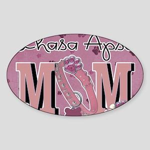 PinkPawsLhasaApsoMom7x5 Sticker (Oval)