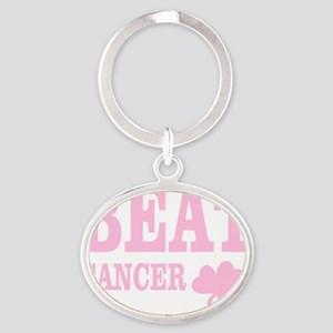 BEAT CANCER Oval Keychain