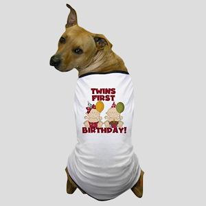 Twin Boy and Girl 1st Birthday Dog T-Shirt