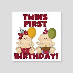 "Twin Boy and Girl 1st Birth Square Sticker 3"" x 3"""