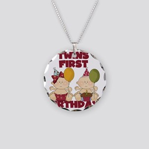 Twin Boy and Girl 1st Birthd Necklace Circle Charm