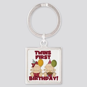 Twin Boy and Girl 1st Birthday Square Keychain