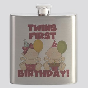 Twin Boy and Girl 1st Birthday Flask