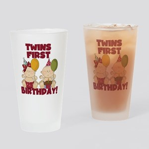 Twin Boy and Girl 1st Birthday Drinking Glass