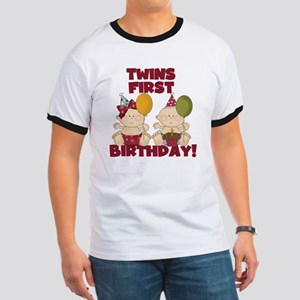 Twin Boy and Girl 1st Birthday Ringer T