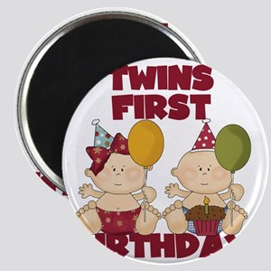 Twin Boy and Girl 1st Birthday Magnet