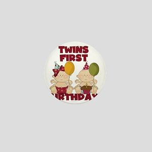 Twin Boy and Girl 1st Birthday Mini Button