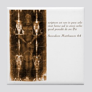 Matthew 4-4 - Latin Tile Coaster