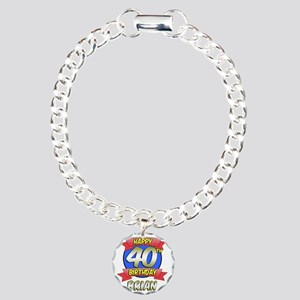 Brian Happy 40th Birthda Charm Bracelet, One Charm