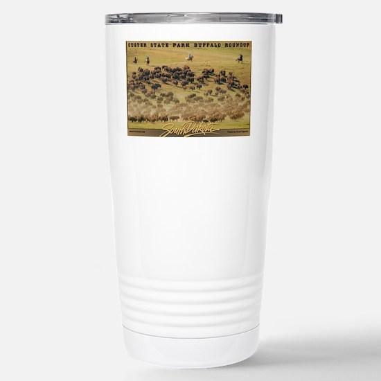 Buffalo Roundup poster Stainless Steel Travel Mug