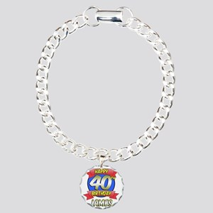 James Happy 40th Birthda Charm Bracelet, One Charm