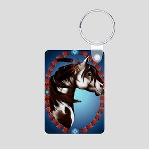 Feathered Paint Horse-oval Aluminum Photo Keychain