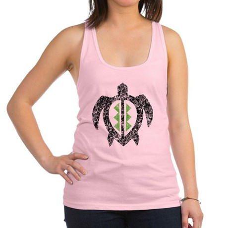 2-hawaiianturtlektexture2 Racerback Tank Top