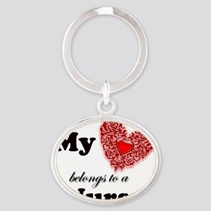 my heart nurse Oval Keychain