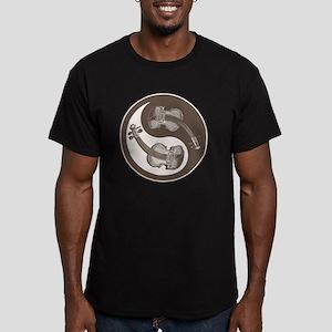 vioyin-yang-brn-T Men's Fitted T-Shirt (dark)