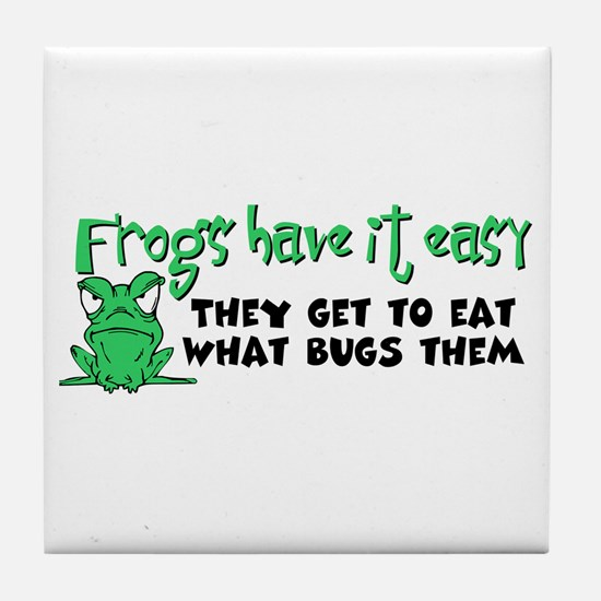 Frogs Have It Easy Tile Coaster