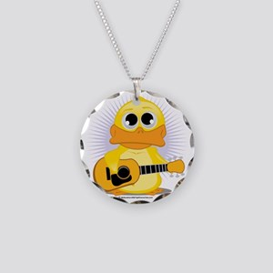 Guitar-Duck Necklace Circle Charm