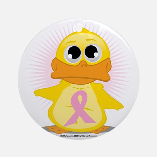 Pink-Ribbon-Duck Round Ornament