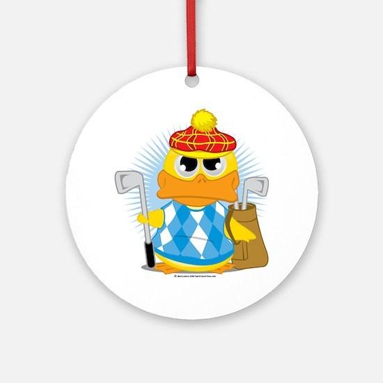 Golf-Duck Round Ornament