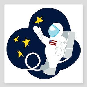 """Astronaut Square Car Magnet 3"""" x 3"""""""