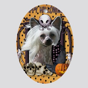 HalloweenNightmare_Chinese_Crested_K Oval Ornament