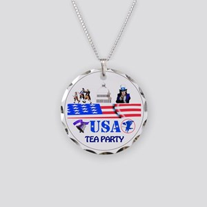 Tea Party Necklace Circle Charm