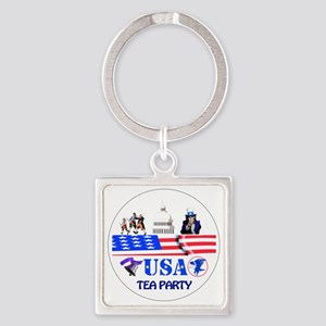 Tea Party Square Keychain
