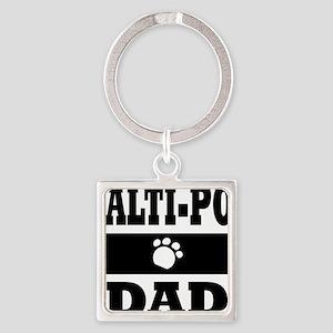 MALTI-POO DAD Square Keychain