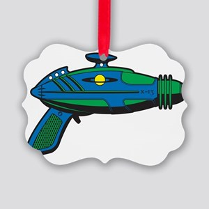 RaygunBlueGreen Picture Ornament