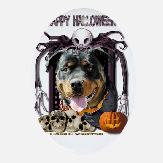 HalloweenNightmare_Rottweiler_SambaP Oval Ornament