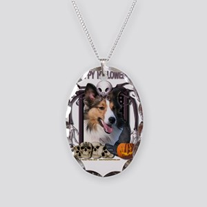 HalloweenNightmare_Sheltie Necklace Oval Charm