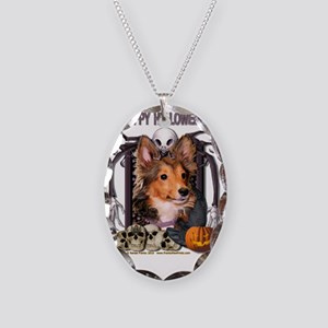 HalloweenNightmare_Sheltie_Coo Necklace Oval Charm