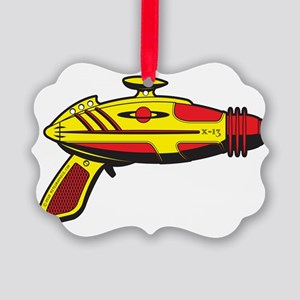 RaygunYellowRed Picture Ornament