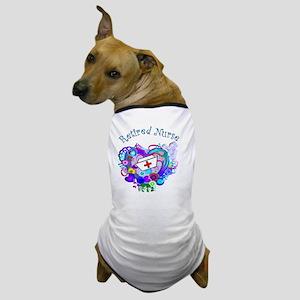Retired Nurse Artsy Retro Heart Dog T-Shirt