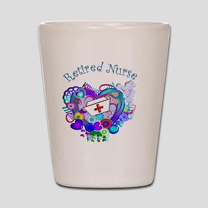 Retired Nurse Artsy Retro Heart Shot Glass