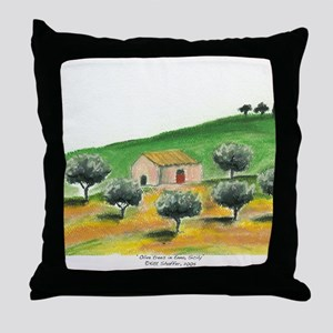 IMG_0054-olive trees in Enna center Throw Pillow