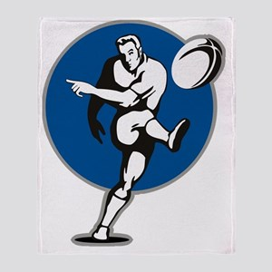 rugby player kicking ball Throw Blanket