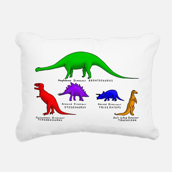 Colored Dinos Rectangular Canvas Pillow